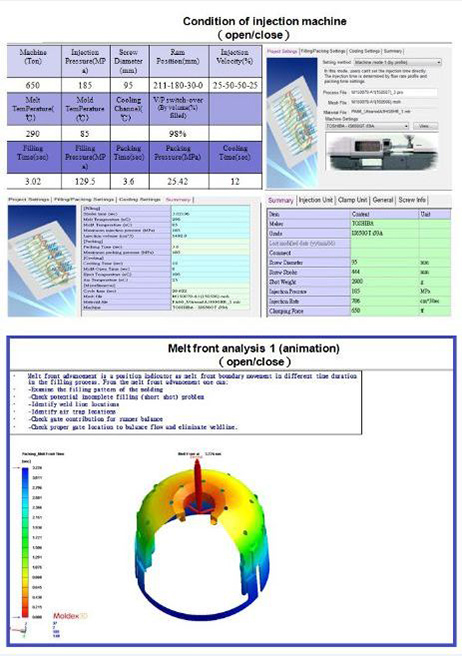 Mold flow analysis – condition of injection machine & melt front analysis