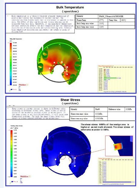 Mold flow analysis – temperature & shear stress